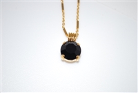 "Mariana Pendant with Jet Swarovski Crystal with 16"" chain and .925 Yellow Gold Plating"