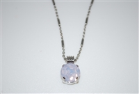 "Mariana Pendant with Rosewater Swarovski Crystal with 16"" chain and .925 Silver Plated"