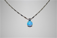 "Mariana Opal Pendant with Blue Opal Mineral from the Italian Ice Collection and 16"" chain and .925 Silver Plated"