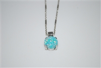 "Mariana Opal Pendant with Green Opal Mineral from the Fern Collection and 16"" chain and .925 Silver Plated"