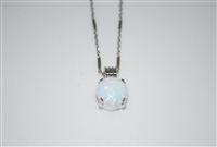 "Mariana white opal pendant and 16"" chain with rhodium plating"