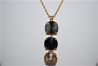 Mariana Triple Stone Pendant with Swarovski Crystals from the Adeline Collection Yellow Gold Plating