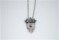 "Mariana 21"" Silver Chain with Swarovski Heart and Tiara from the Ice Collection and Silver Plating"