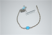 Mariana dainty chain bracelet with Swarovski Crystal Blue Opal in Rhodium Plating