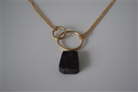 Matte Gold Necklace with Stone