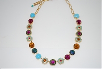 Mariana Flower Collar Necklace in Happy Days Collection in Yellow Gold Plating