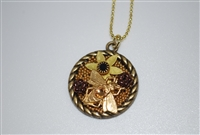 Brass Bee Flower Mosaic Pendant