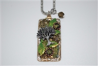 Silver Plated Rectangular Collage Pendant with Boxwood Leaves and Tree of Life