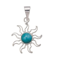Charles Albert Fine Sterling Silver Turquoise Sun Pendant