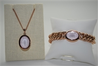 Qudo Tivola Stainless Steel Bracelet and Pendant with Swarovski Crystal