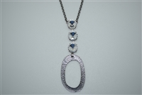 Rachel Marie - Venus Necklace with 3 Ravioli Cut Swarovski Crystals and an Art Deco Oval Design
