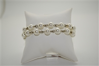 Double Pearl Bracelet with Antique Hardware