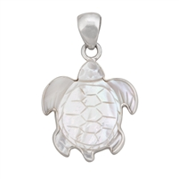 Charles Albert Sterling Silver Mother of Pearl Sea Turtle Pendant