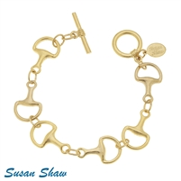 Susan Shaw Gold Horse Bit and Toggle Bracelet