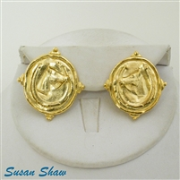 Susan Shaw Handcasted 24K Gold Plated Horseshoe and Horse Earrings