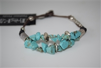 Treska Bracelet with Brown Threads, Turquoise and Silver Beads