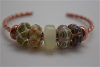 Troll Copper Bracelet, 2 Spacers, and 5 Glass BeadS