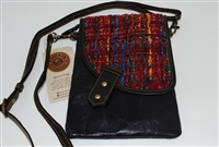 Genuine Leather Up-cycled Crossbody Handbag with Fabric Flap