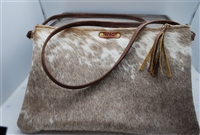 Taupe and White Cowhide Crossbody