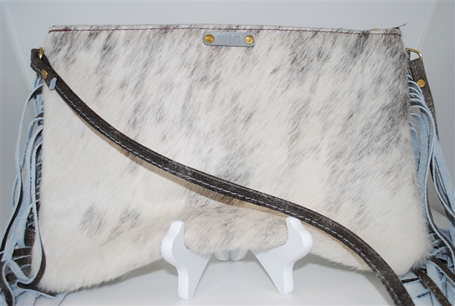 White and Light Gray Cowhide Crossbody with Fringe