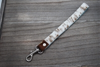 White and Brown Specked Cowhide Keyring Holder