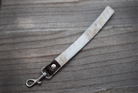 White and Light Gray Cowhide Key Ring Holder