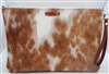 Brown and White Large Cowhide Wristlet