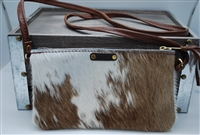 White and Brown Mini Cowhide Crossover