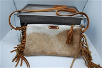 White and Light Brown Mini Cowhide Crossover with Fringe