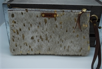 Gold Exotic Cowhide Small Wristlet