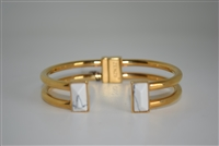 Zenzii Gold Plated Open Hinge Cuff with White Stones