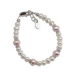 Sterling Silver Pink/White Pearl Bracelet