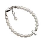 Sterling Silver Cross and Pearl Bracelet Amelia