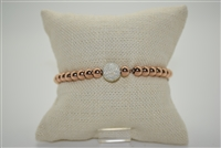 Stainless Steel Bracelet with Rose Gold Beads