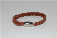 Mary - Qudo Small Braided Leather Bracelet with Magnetic Closure