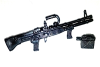M60-E3 Heavy Machine Gun w/ Ammo Case BLACK Version - 1:18 Scale Weapon for 3 3/4 Inch Action Figures