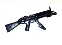SWAT Submachine Gun with Flashlight BLACK Version - 1:18 Scale Weapon for 3 3/4 Inch Action Figures