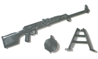 RPK PKM Machine Gun w/ Ammo Drum & Bipod - 1:18 Scale Weapon for 3-3/4 Inch Action Figures