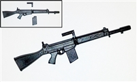 FN FAL Assault Rifle with Handle & Magazine BLACK Version - 1:18 Scale Weapon for 3-3/4 Inch Action Figures