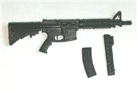 "M4-CQB Assault Rifle w/ Mags BLACK Version BASIC - ""Modular"" 1:18 Scale Weapon for 3-3/4 Inch Action Figures"