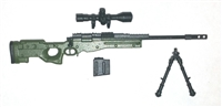 "MK-XIII Sniper Rifle with Scope, Bipod & Ammo Mag GREEN & BLACK Version BASIC - ""Modular"" 1:18 Scale Weapon for 3-3/4 Inch Action Figures"