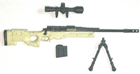 "MK-XIII Sniper Rifle with Scope, Bipod & Ammo Mag TAN & BLACK Version BASIC - ""Modular"" 1:18 Scale Weapon for 3-3/4 Inch Action Figures"