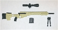 "R-PSR Sniper Rifle with Scope, Bipod, Ammo Mag TAN & BLACK Version BASIC - ""Modular"" 1:18 Scale Weapon for 3-3/4 Inch Action Figures"