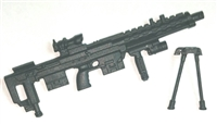 DFA Sniper Rifle with Bipod BLACK Version BASIC - 1:18 Scale Weapon for 3-3/4 Inch Action Figures