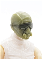 "Male Head: Mask with Goggles & Breather OLIVE GREEN Version - 1:18 Scale MTF Accessory for 3-3/4"" Action Figures"