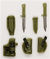 "Pistol Holster & Knife Sheath Deluxe Modular Set: OLIVE GREEN Version - 1:18 Scale Modular MTF Accessories for 3-3/4"" Action Figures"