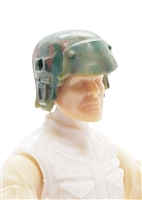 "Headgear: Armor Helmet OLIVE GREEN CAMO Version - 1:18 Scale Modular MTF Accessory for 3-3/4"" Action Figures"