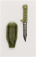 "Fighting Knife & Sheath: Large Size OLIVE GREEN Version - 1:18 Scale Modular MTF Accessory for 3-3/4"" Action Figures"