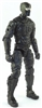 "MTF Male Trooper with Balaclava Head BLACK ""Night-Ops"" Armor Leg Version - 1:18 Scale Marauder Task Force Action Figure"