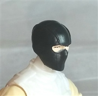 "Male Head: Balaclava Mask BLACK Version - 1:18 Scale MTF Accessory for 3-3/4"" Action Figures"